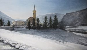 Chiesa-di-salvaro-con-la-neve-olio-su-tavola-30x50